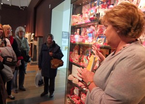 The collectors' case at RAMM - currently showing a Hello Kitty collection! (Charlotte Robinson looks a little dubious.)