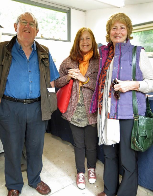 Andy Newland, Vicki Thomson and Jeanette Eastwood in Stephanie Cunningham's Lamorna studio.
