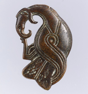 Brooch in the Form of a Bird of Prey, 500–600; Vendel; made in Scandinavia; Copper alloy with silver overlay; L. 2 3/8 in. (6 cm) (Metropolitan Museum of Art)